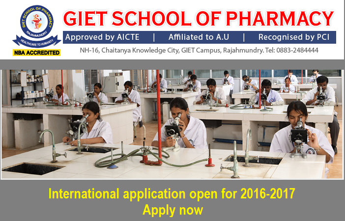B Pharm, M Pharm admission at GIET School of Pharmacy, India