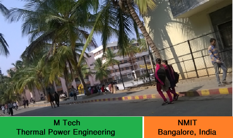 M Tech Thermal Power Engineering admission at NMIT Bangalore