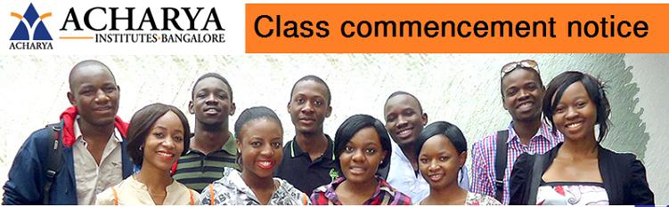 Acharya Institutes Class Commencement Notice