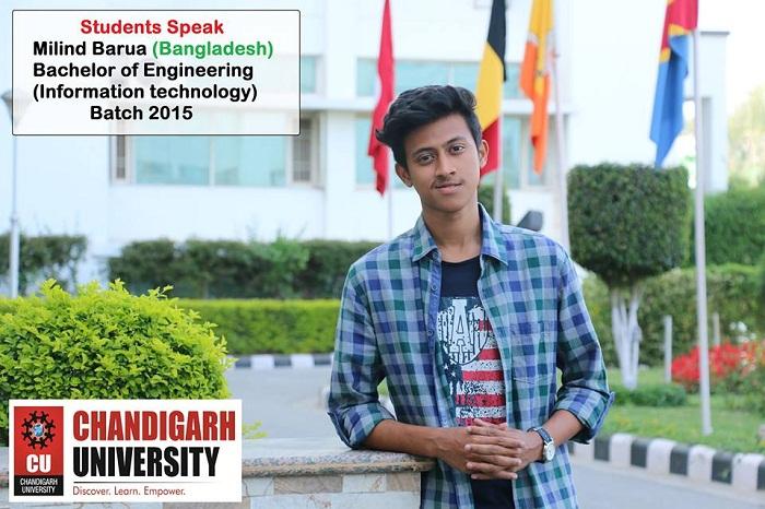 Milind Barua at Chandigarh University, India